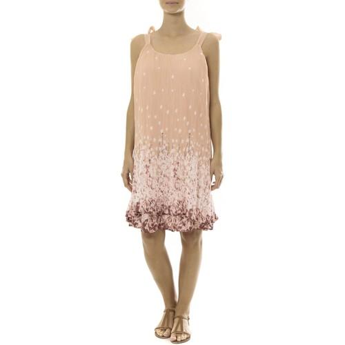Vêtements Femme Robes courtes By La Vitrine Robe Rose Care of you Imprimée Fleurs F50113 Rose