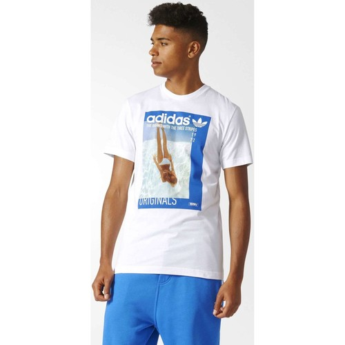 Vêtements Homme T-shirts manches courtes adidas Originals BQ3038 T-shirt Man Blanc Blanc
