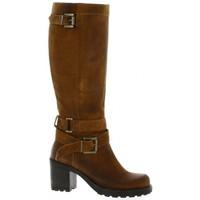 Chaussures Femme Bottes ville Pao Bottes cuir velours Cognac