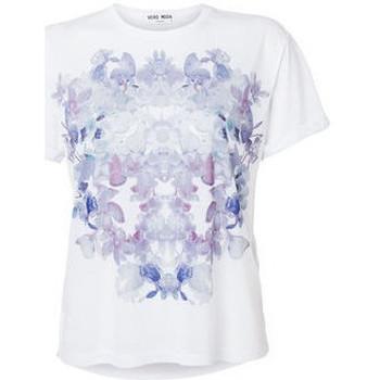 Vêtements Femme T-shirts manches courtes Vero Moda T-Shirt Femme Flora Violet Blanc