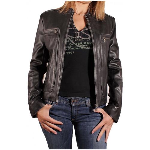 Vêtements Femme Vestes en cuir / synthétiques Redskins BLOUSON  EN CUIR PRERIM NOIR