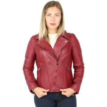 Vêtements Homme Blousons Giorgio Cuirs Blouson style perfecto cuir Giorgio ref_gio40744 rouge Rouge