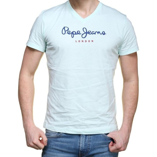 Vêtements Homme T-shirts manches courtes Pepe jeans Tee Shirt  Eggo V  Glass Vert