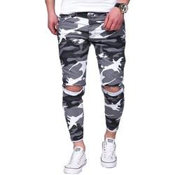 Vêtements Homme Jeans droit Kc 1981 Jeans déchiré camouflage Jeans 3215 blanc Blanc
