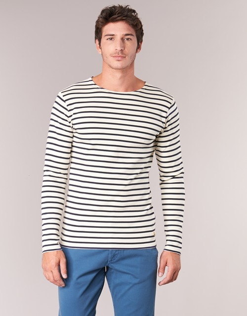 Vêtements Homme T-shirts manches longues Armor Lux GELGA Blanc / Marine