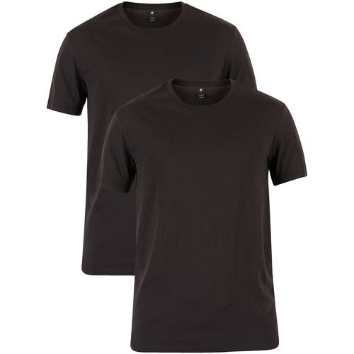 Vêtements Homme T-shirts manches courtes G-Star Raw Homme 2 Crew pack T-shirts, Noir noir