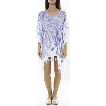 Vêtements Femme Robes courtes Mora Mora Poncho Feather blanc/bleu Blanc