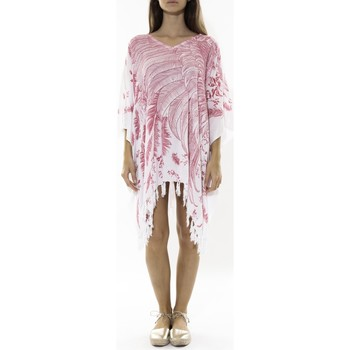 Vêtements Femme Robes courtes Mora Mora Poncho Feather blanc/rose Blanc