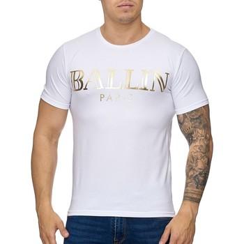 Vêtements Homme T-shirts manches courtes Violento Tee shirt homme Ballin T-shirt 1004 blanc doré Blanc