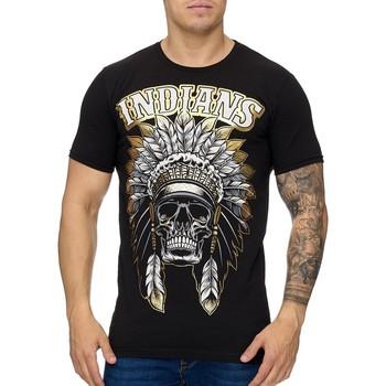Vêtements Homme T-shirts manches courtes Violento T-shirt homme Indians T-shirt 994 noir doré Noir