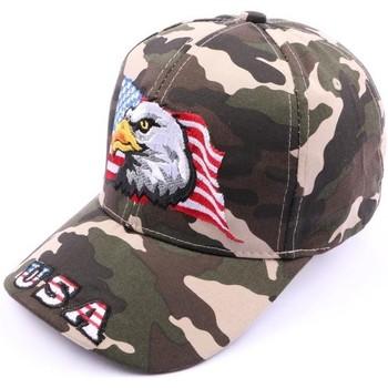 Accessoires textile Homme Casquettes Divers Casquette Aigle drapeau USA Camouflage Vert