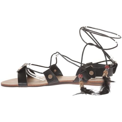 Chaussures Femme Sandales et Nu-pieds Nice Shoes Sandale  Noir attache corde SP7085-NR Noir