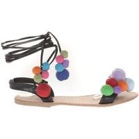 Chaussures Femme Sandales et Nu-pieds Vera & Lucy Sandale Noir avec pompons 900-2 Noir