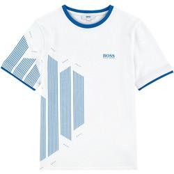 Vêtements Garçon T-shirts manches courtes HUGO Tee-shirt Hugo Boss Junior - Ref. J25A55-10B Blanc