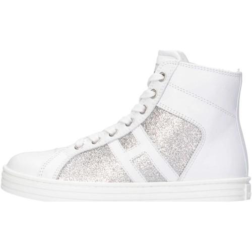 Chaussures Fille Baskets montantes Hogan HXC1410P990FTD0R37 Blanc / Argent