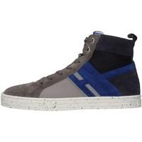 Chaussures Enfant Baskets montantes Hogan HXR1410U770FUW0XTS Basket Bébé Gris / bleu Gris / bleu