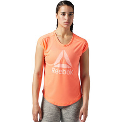 Vêtements Femme T-shirts manches courtes Reebok Sport T-shirt Workout Ready Supremium 2.0 Big Logo Orange