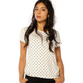 Only T-shirt FEMME - ARLI S/S TOP JRS(POIS NOIR)_CLOUD DANCER/BLACK