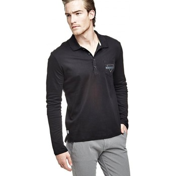 Vêtements Homme Polos manches longues Guess Polo Homme Manches Longues Rufo Noir 38
