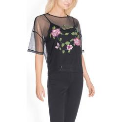 Vêtements Femme Tops / Blouses Guess Blouse Imprimé fleuri Brodée Noir
