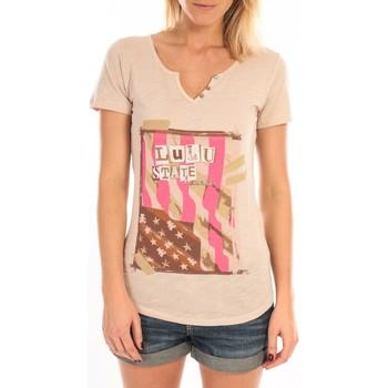 Vêtements Femme T-shirts manches courtes LuluCastagnette T-Shirt Mimi Flamme Print Beige Beige