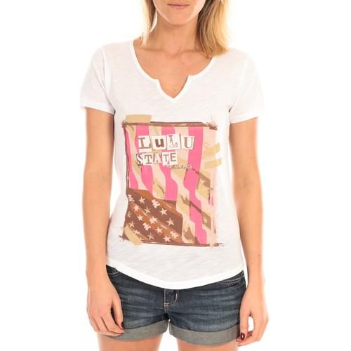 Vêtements Femme T-shirts manches courtes LuluCastagnette T-Shirt Mimi Flamme Print Blanc Blanc