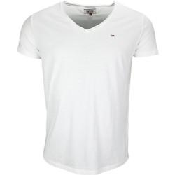 Vêtements Homme T-shirts manches courtes Tommy Hilfiger T-shirt col V Tommy Hilfiger basique blanc pour homme Blanc