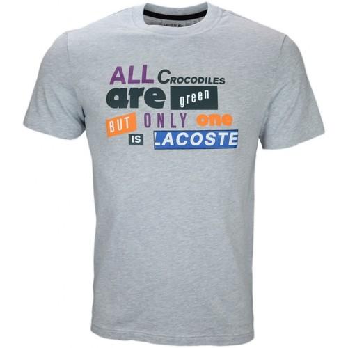 Vêtements Homme T-shirts manches courtes Lacoste T-shirt col rond  gris lettrage pour homme Gris