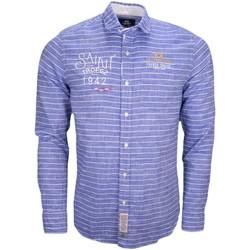 Vêtements Homme Chemises manches longues La Martina Chemise en lin  rayée bleue pour homme Bleu