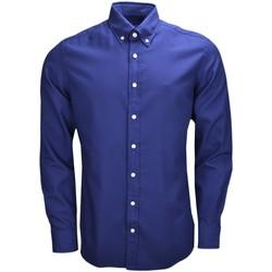 Vêtements Homme Chemises manches longues Hackett Chemise manches longues  bleu marine pour homme Bleu