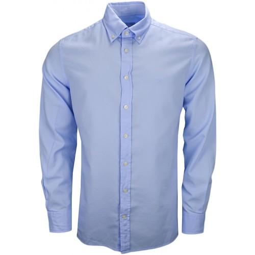 Vêtements Homme Chemises manches longues Hackett Chemise  Oxford slim fit bleu ciel pour homme Bleu