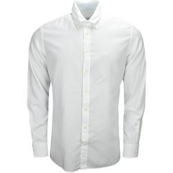 Vêtements Homme Chemises manches longues Hackett Chemise  Oxford slim fit blanche pour homme Blanc