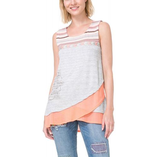 Vêtements Femme T-shirts manches courtes Desigual T Shirt Masiel Rosa Tailandia 73T2YB0 (sp)