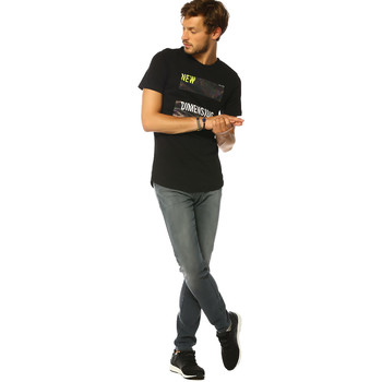 Vêtements Femme T-shirts manches courtes Jack & Jones T-shirt HOMME - HOLOSHINE TEE SS CREW NECK_BLACK/SLIM Noir