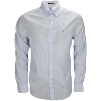 Vêtements Homme Chemises manches longues Gant Chemise  rayée bleu et blanche pour homme Bleu