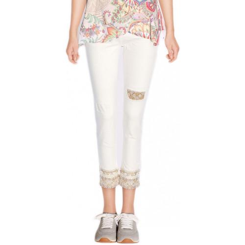 Vêtements Femme Jeans slim Desigual Jeans Dreams 5 Ecru 72D2WC4 Blanc cassé