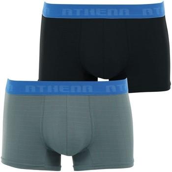 Vêtements Homme Boxers / Caleçons Athena Lot 2 Boxers Homme Microfibre MICRO3D Gris Noir Noir