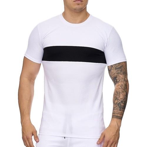 Vêtements Homme T-shirts manches courtes Monsieurmode Ensemble short sportswear Survêtement 1013 blanc Blanc