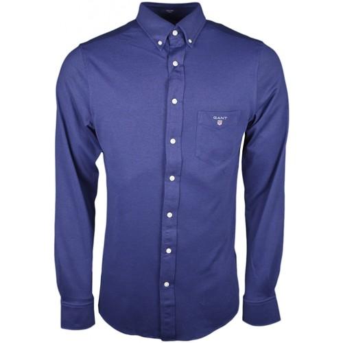 Vêtements Homme Chemises manches longues Gant Chemises  en coton piqué bleu marine pour homme Bleu