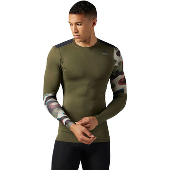 Vêtements Homme T-shirts manches longues Reebok Sport ACTIVCHILL Graphic Long Sleeve Compression Shirt Green