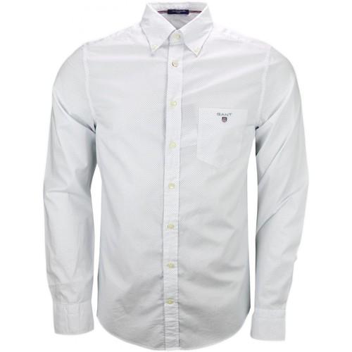 Vêtements Homme Chemises manches longues Gant Chemise  à pois blanche et bleu pour homme Blanc