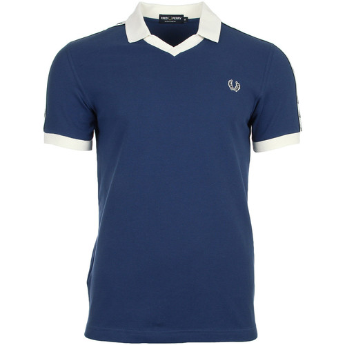 Vêtements Homme Polos manches courtes Fred Perry Taped Pique Shirt Snow White bleu