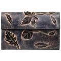 Sacs Femme Porte-monnaie Sélectionnée Par Nouvelty Porte monnaie femme décor feuille cuir brut aspect vieilli 4976 Bleu