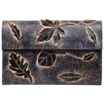 Sacs Femme Porte-monnaie A Découvrir ! Porte monnaie femme en cuir brut aspect vieilli 4976 déco feuill Bleu
