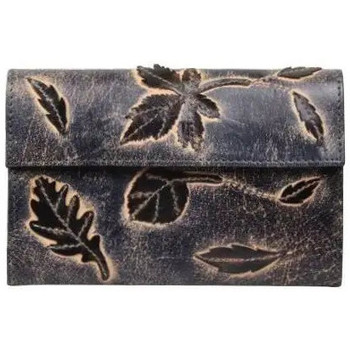 Sacs Femme Porte-monnaie Sélection Porte monnaie femme en cuir brut aspect vieilli 4976 déco feuill Bleu