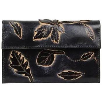 Sacs Femme Porte-monnaie A Découvrir ! Porte monnaie femme en cuir brut aspect vieilli 4976 déco feuill Bleu marine