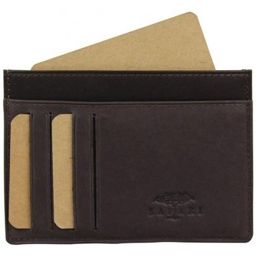 Sacs Femme Porte-monnaie Nouvelty Porte cartes cuir brut ultra plat Safari SF500 Marron