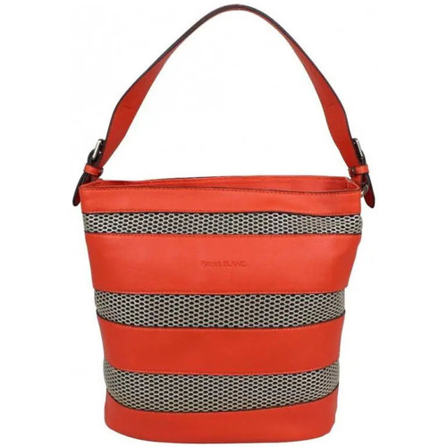 Sacs Femme Besaces Patrick Blanc Sac porté épaule seau  souple bandes effet perforées argent 5080 Orange
