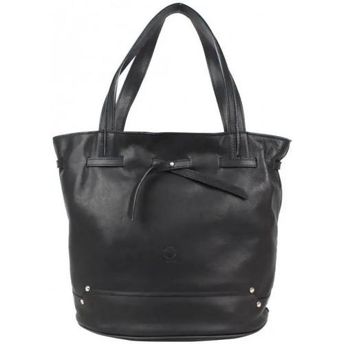 Sacs Femme Sacs porté main Texier Sac à main cuir souple bourse effet ceinture nœud  fabrication F Noir