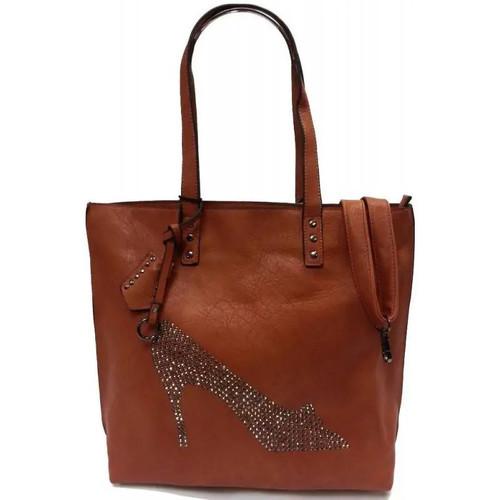 Sacs Femme Cabas / Sacs shopping Eternel Sac cabas camel strass chaussure Camel